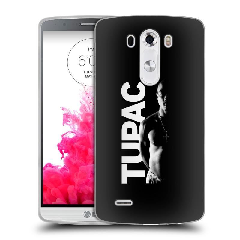 Silikonové pouzdro na mobil LG G3 HEAD CASE TUPAC - Black and White (Silikonový kryt či obal na mobilní telefon s oficiálním motivem rappera Tupaca Amaru Shakura pro LG G3)
