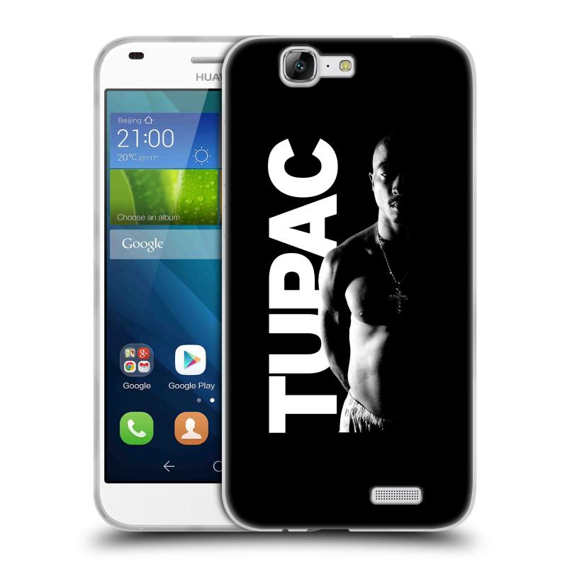 Silikonové pouzdro na mobil Huawei Ascend G7 HEAD CASE TUPAC - Black and White