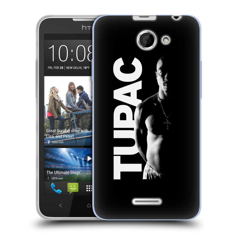 Silikonové pouzdro na mobil HTC Desire 516 HEAD CASE TUPAC - Black and White (Silikonový kryt či obal na mobilní telefon s oficiálním motivem rappera Tupaca Amaru Shakura pro HTC Desire 516 Dual SIM)