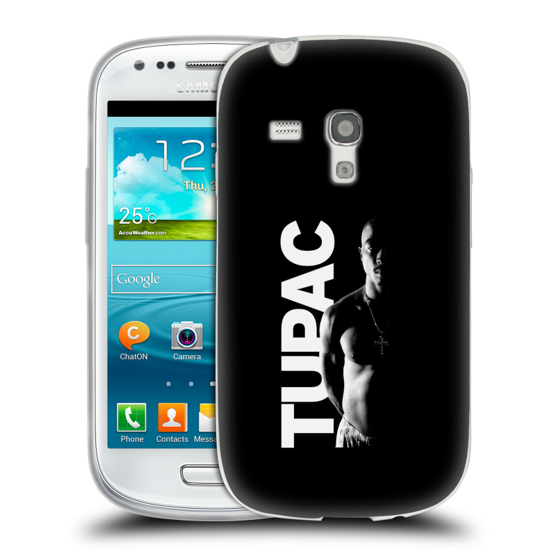 Silikonové pouzdro na mobil Samsung Galaxy S III Mini HEAD CASE TUPAC - Black and White (Silikonový kryt či obal na mobilní telefon s oficiálním motivem rappera Tupaca Amaru Shakura pro Samsung Galaxy S III Mini GT-i8190)