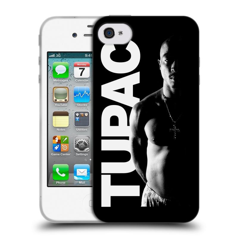Silikonové pouzdro na mobil Apple iPhone 4 a 4S HEAD CASE TUPAC - Black and White (Silikonový kryt či obal na mobilní telefon s oficiálním motivem rappera Tupaca Amaru Shakura pro Apple iPhone 4 a 4S)