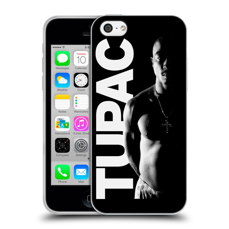 Silikonové pouzdro na mobil Apple iPhone 5C HEAD CASE TUPAC - Black and White (Silikonový kryt či obal na mobilní telefon s oficiálním motivem rappera Tupaca Amaru Shakura pro Apple iPhone 5C)