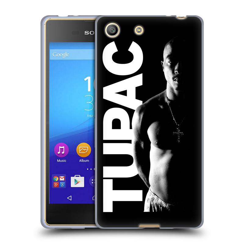 Silikonové pouzdro na mobil Sony Xperia M5 HEAD CASE TUPAC - Black and White (Silikonový kryt či obal na mobilní telefon s oficiálním motivem rappera Tupaca Amaru Shakura pro Sony Xperia M5 Dual SIM / Aqua)