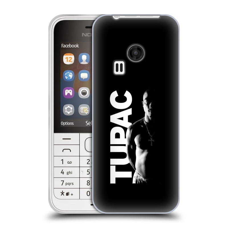 Silikonové pouzdro na mobil Nokia 220 HEAD CASE TUPAC - Black and White (Silikonový kryt či obal na mobilní telefon s oficiálním motivem rappera Tupaca Amaru Shakura pro Nokia 220 a 220 Dual SIM)
