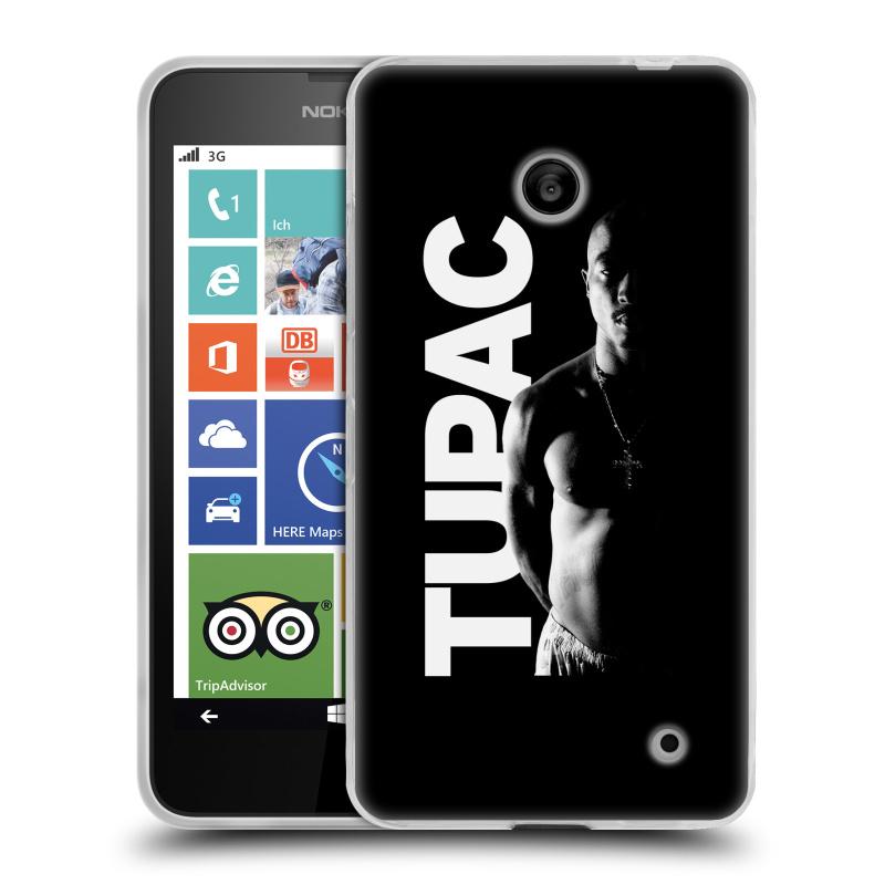 Silikonové pouzdro na mobil Nokia Lumia 630 HEAD CASE TUPAC - Black and White (Silikonový kryt či obal na mobilní telefon s oficiálním motivem rappera Tupaca Amaru Shakura pro Nokia Lumia 630 a Nokia Lumia 630 Dual SIM)