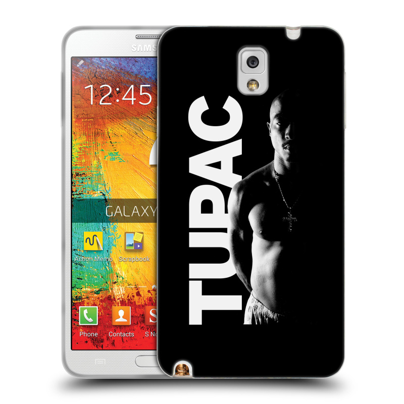 Silikonové pouzdro na mobil Samsung Galaxy Note 3 HEAD CASE TUPAC - Black and White (Silikonový kryt či obal na mobilní telefon s oficiálním motivem rappera Tupaca Amaru Shakura pro Samsung Galaxy Note 3 SM-N9005)