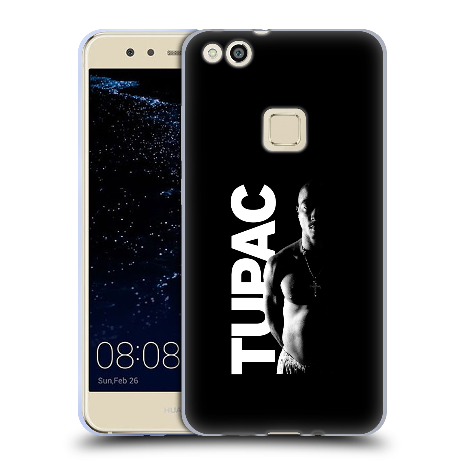 Silikonové pouzdro na mobil Huawei P10 Lite Head Case - TUPAC - Black and White