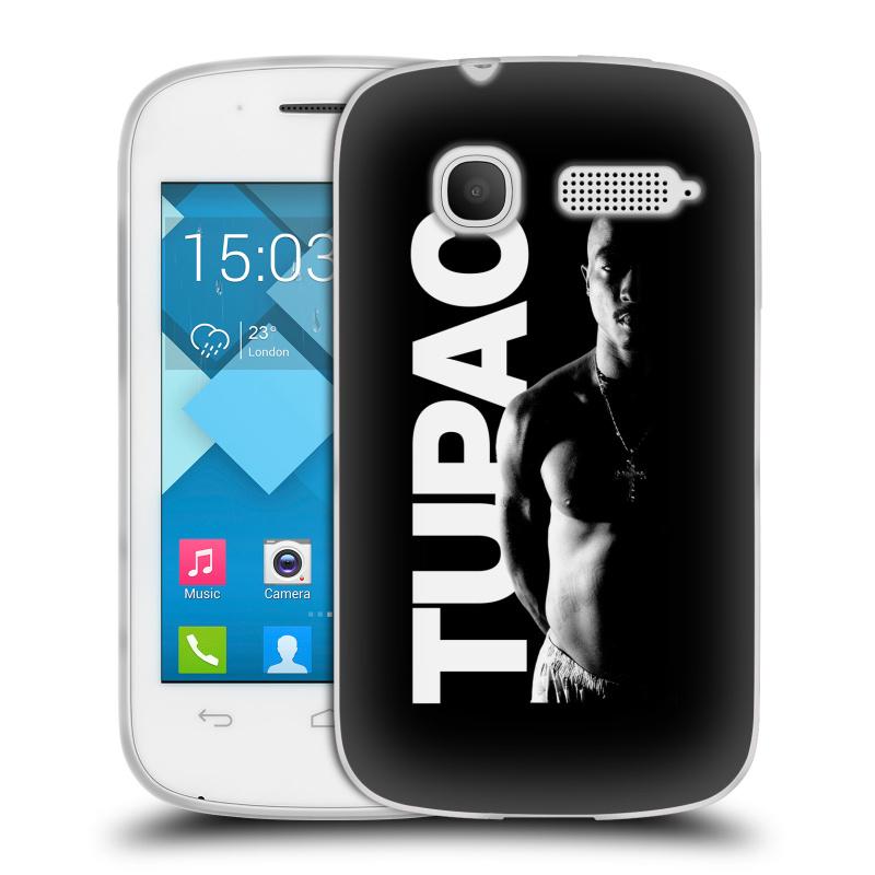 Silikonové pouzdro na mobil Alcatel One Touch Pop C1 HEAD CASE TUPAC - Black and White (Silikonový kryt či obal na mobilní telefon s oficiálním motivem rappera Tupaca Amaru Shakura pro Alcatel OT-4015D POP C1)