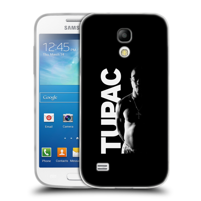 Silikonové pouzdro na mobil Samsung Galaxy S4 Mini HEAD CASE TUPAC - Black and White (Silikonový kryt či obal na mobilní telefon s oficiálním motivem rappera Tupaca Amaru Shakura pro Samsung Galaxy S4 Mini GT-i9195 / i9190)