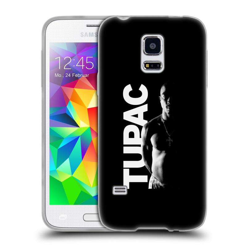 Silikonové pouzdro na mobil Samsung Galaxy S5 Mini HEAD CASE TUPAC - Black and White (Silikonový kryt či obal na mobilní telefon s oficiálním motivem rappera Tupaca Amaru Shakura pro Samsung Galaxy S5 Mini SM-G800F)