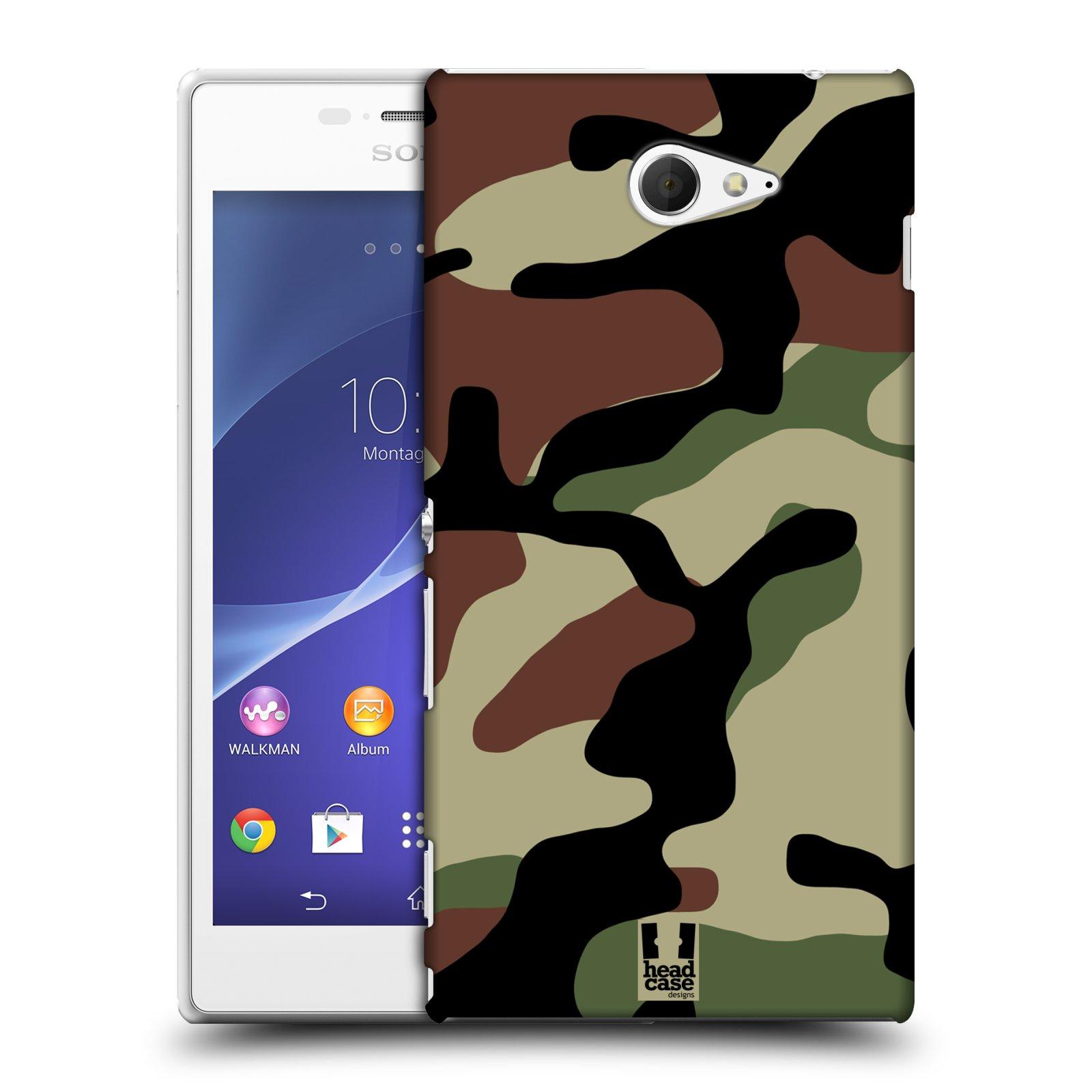 Plastové pouzdro na mobil Sony Xperia M2 D2303 HEAD CASE Maskáče (Kryt či obal na mobilní telefon Sony Xperia M2 )