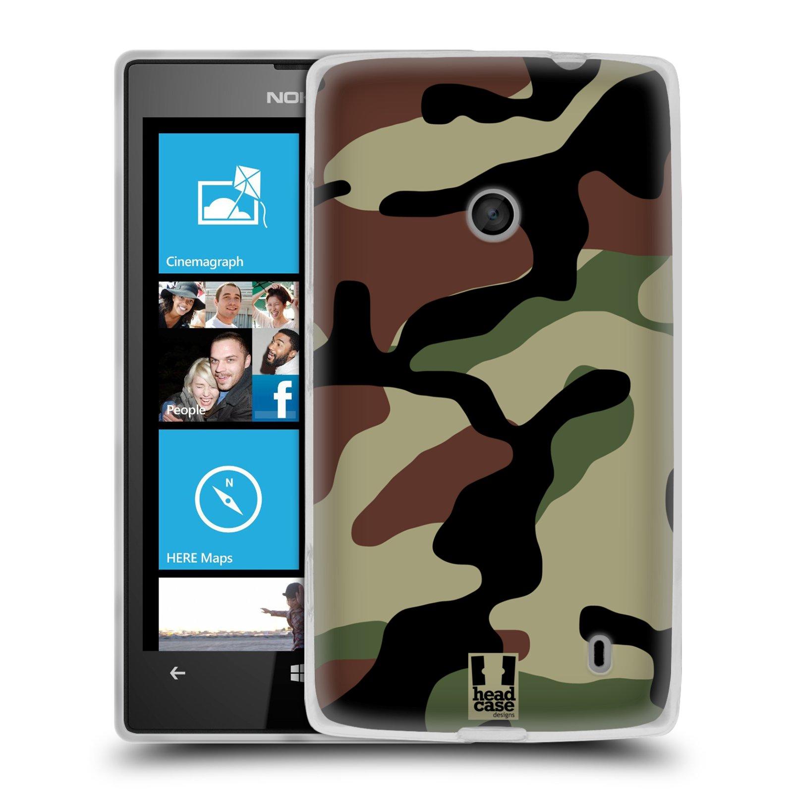 Silikonové pouzdro na mobil Nokia Lumia 520 HEAD CASE Maskáče (Silikonový Kryt či obal na mobilní telefon Nokia Lumia 520)