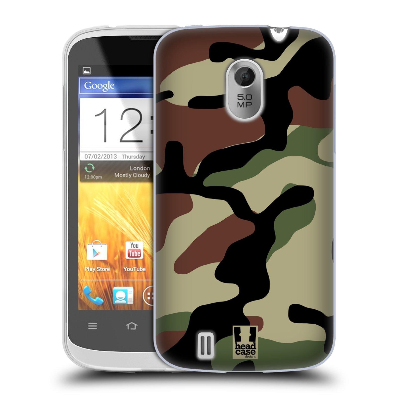 Silikonové pouzdro na mobil ZTE Blade III HEAD CASE Maskáče (Silikonový kryt či obal na mobilní telefon ZTE Blade 3)