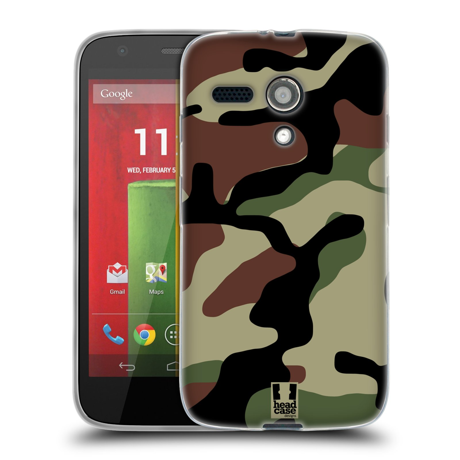 Silikonové pouzdro na mobil Motorola Moto G HEAD CASE Maskáče (Silikonový kryt či obal na mobilní telefon Motorola Moto G)