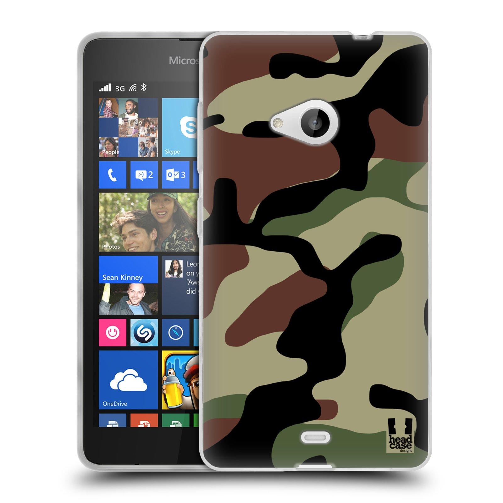Silikonové pouzdro na mobil Microsoft Lumia 535 HEAD CASE Maskáče (Silikonový kryt či obal na mobilní telefon Microsoft Lumia 535)