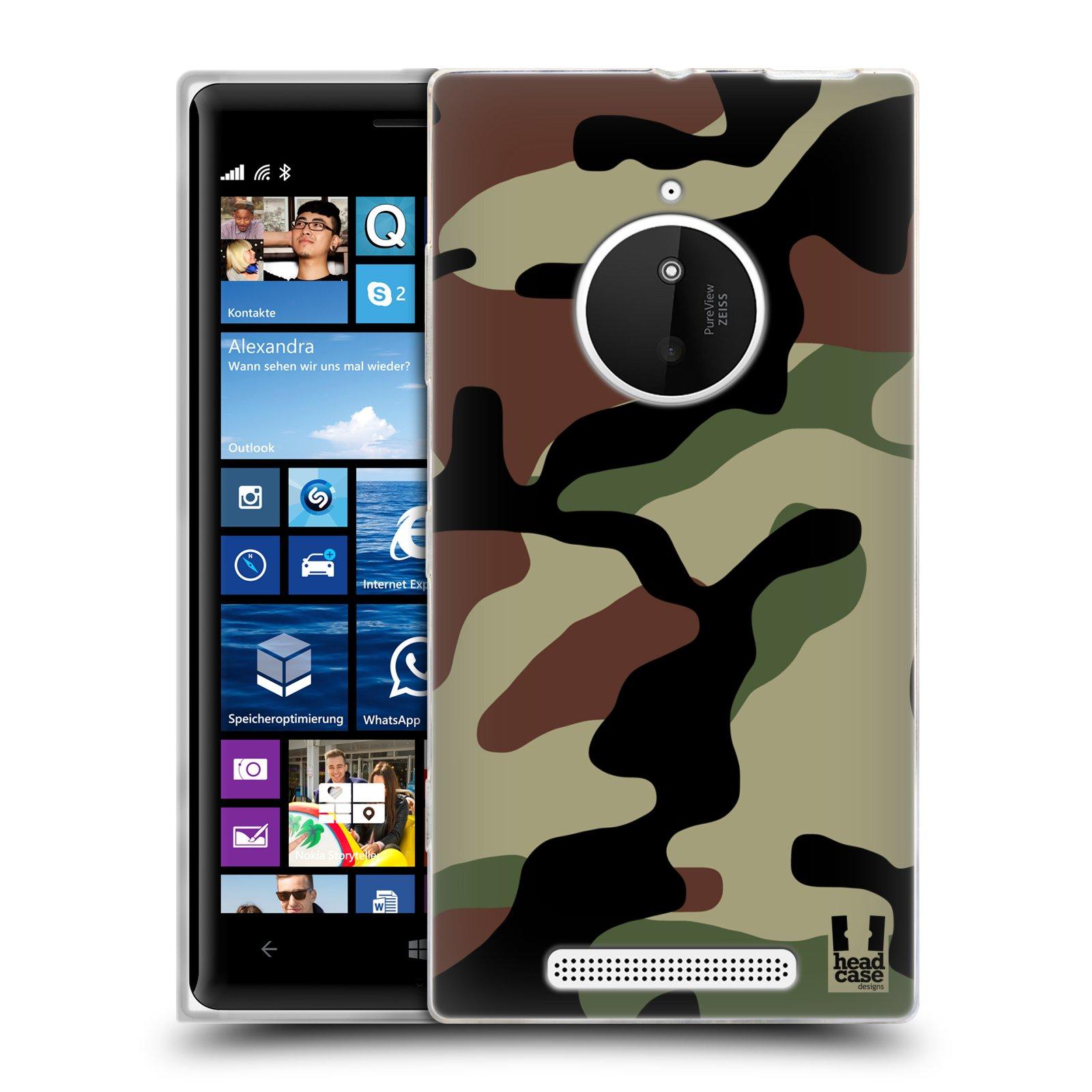 Silikonové pouzdro na mobil Nokia Lumia 830 HEAD CASE Maskáče (Silikonový kryt či obal na mobilní telefon Nokia Lumia 830)