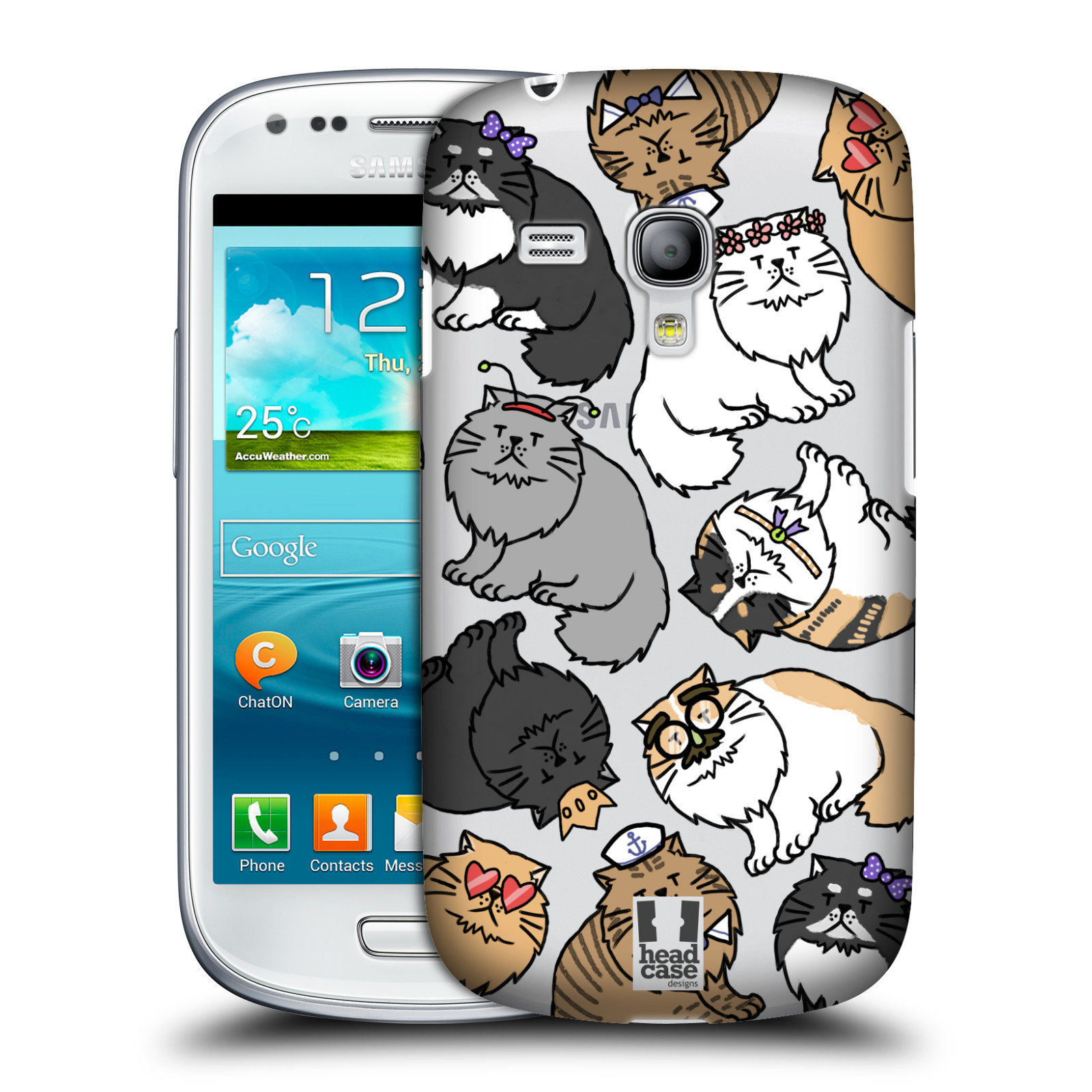 Silikonové pouzdro na mobil Samsung Galaxy S III Mini VE - Head Case - Perská kočka (Plastový kryt či obal na mobilní telefon s motivem kočiček pro Samsung Galaxy S3 Mini VE GT-i8200)