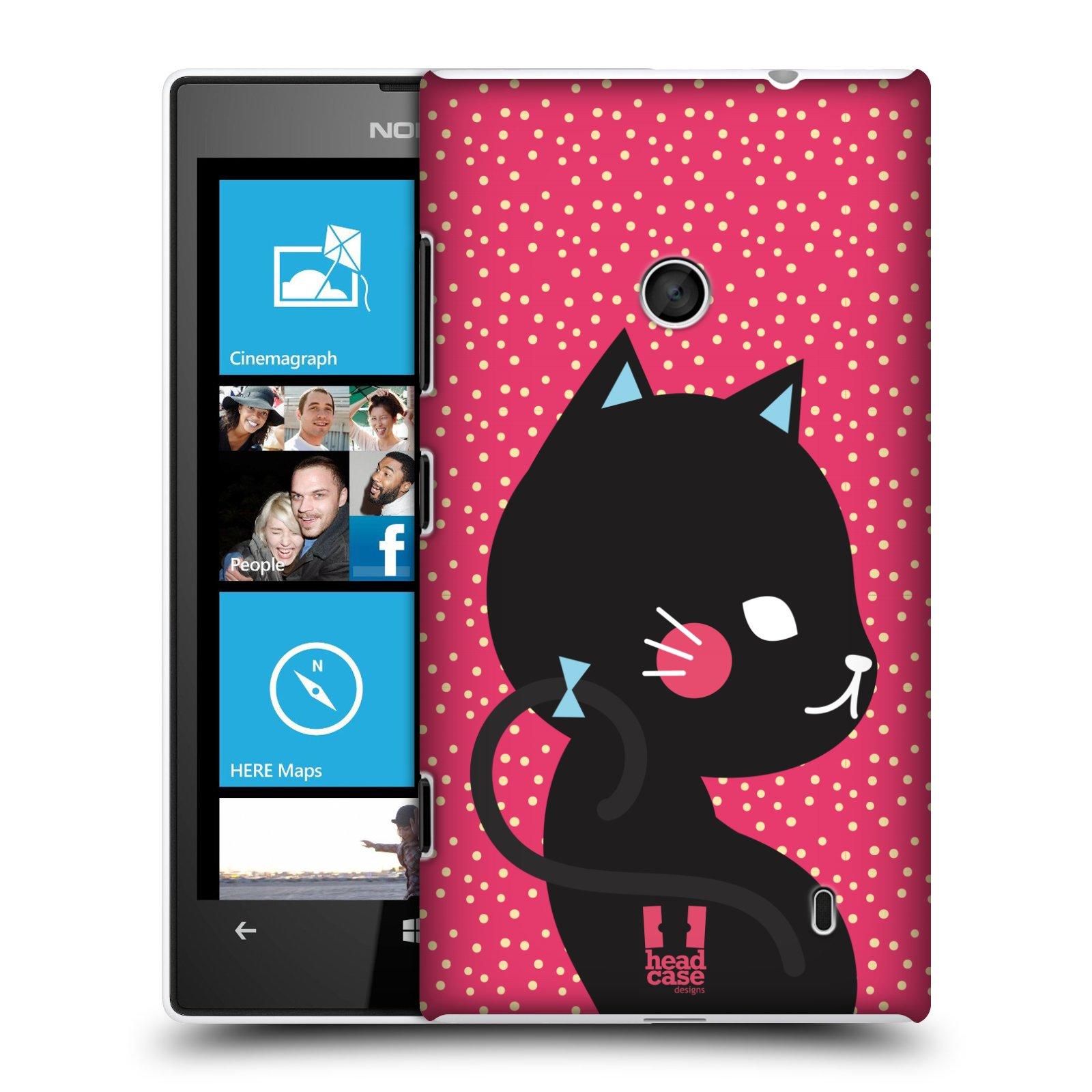 Plastové pouzdro na mobil Nokia Lumia 520 HEAD CASE KOČIČKA ČERNÁ NA RŮŽOVÉ (Kryt či obal na mobilní telefon Nokia Lumia 520 )