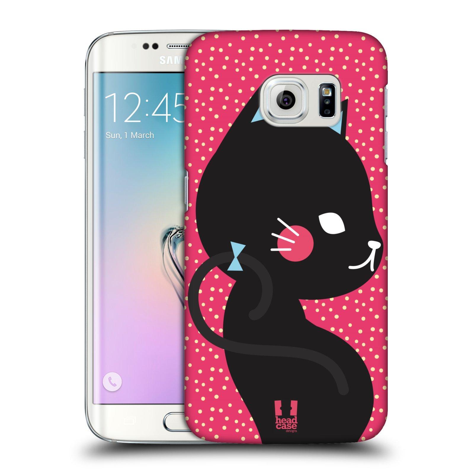 Plastové pouzdro na mobil Samsung Galaxy S6 Edge HEAD CASE KOČIČKA ČERNÁ NA RŮŽOVÉ (Kryt či obal na mobilní telefon Samsung Galaxy S6 Edge SM-G925F)