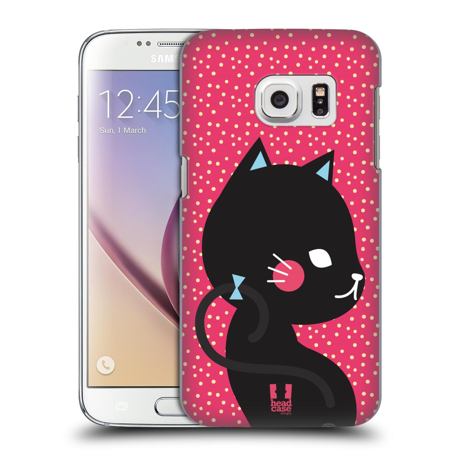 Plastové pouzdro na mobil Samsung Galaxy S7 HEAD CASE KOČIČKA ČERNÁ NA RŮŽOVÉ (Kryt či obal na mobilní telefon Samsung Galaxy S7 SM-G930F)