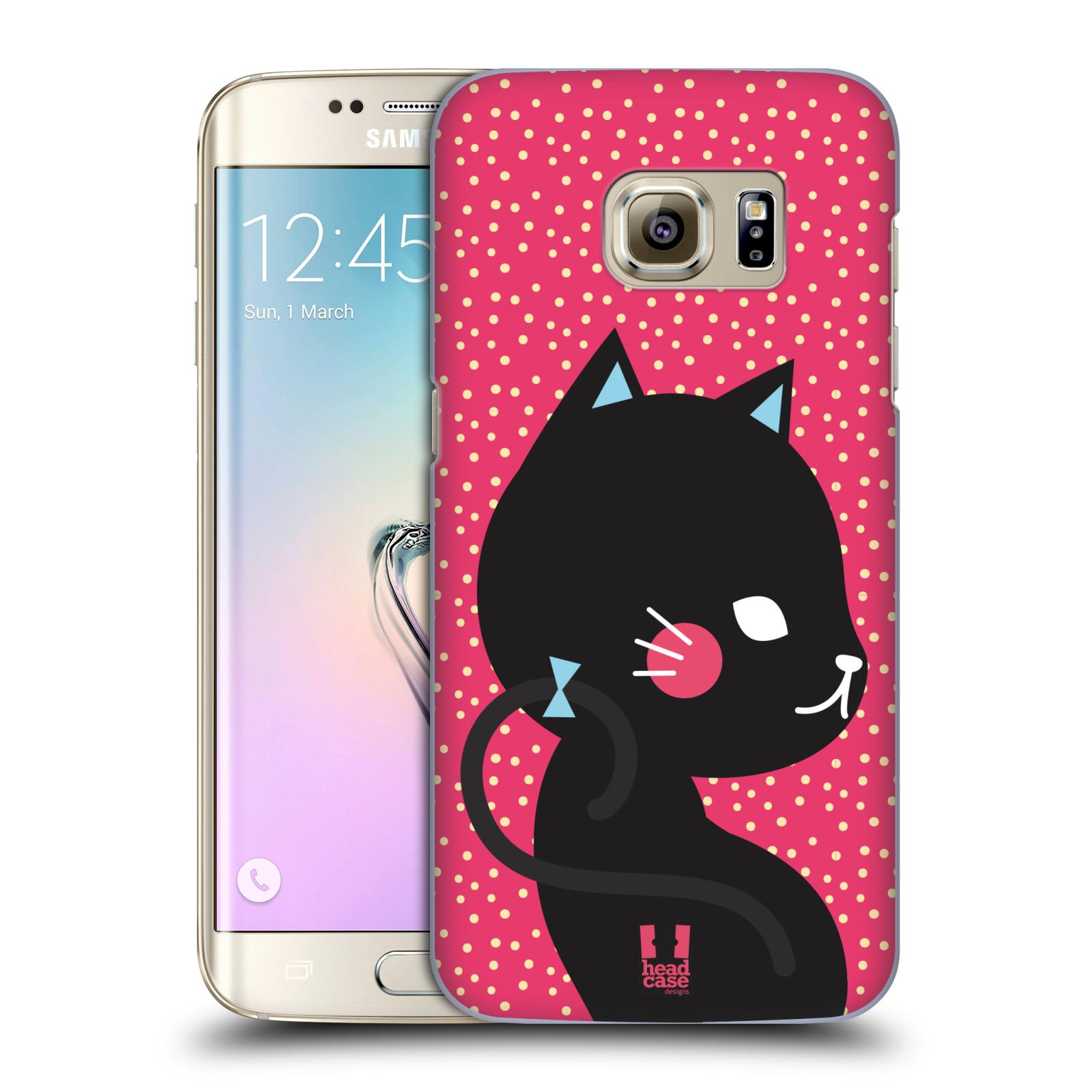 Plastové pouzdro na mobil Samsung Galaxy S7 Edge HEAD CASE KOČIČKA ČERNÁ NA RŮŽOVÉ (Kryt či obal na mobilní telefon Samsung Galaxy S7 Edge SM-G935F)