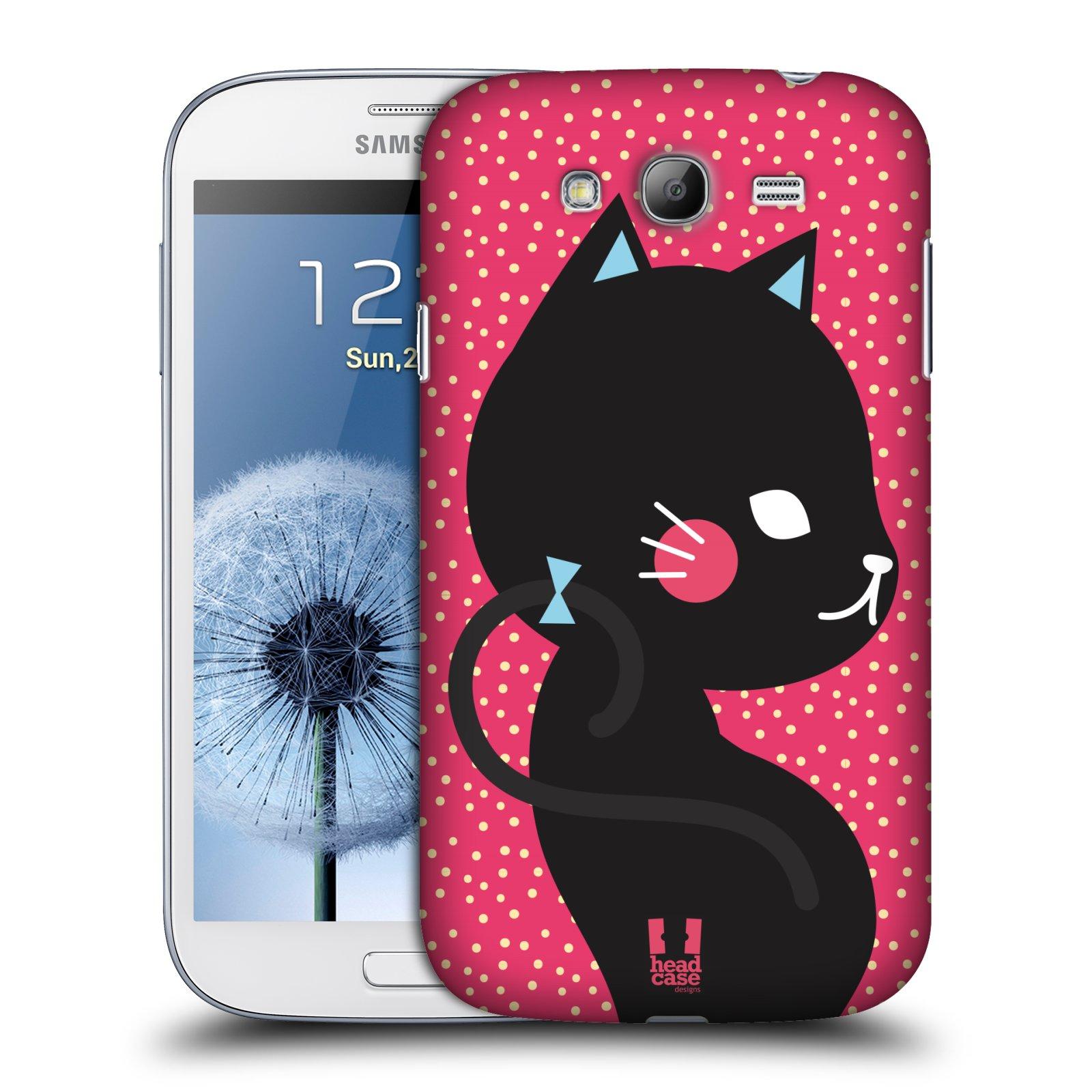 Plastové pouzdro na mobil Samsung Galaxy Grand Neo HEAD CASE KOČIČKA ČERNÁ NA RŮŽOVÉ (Kryt či obal na mobilní telefon Samsung Galaxy Grand Neo GT-i9060)