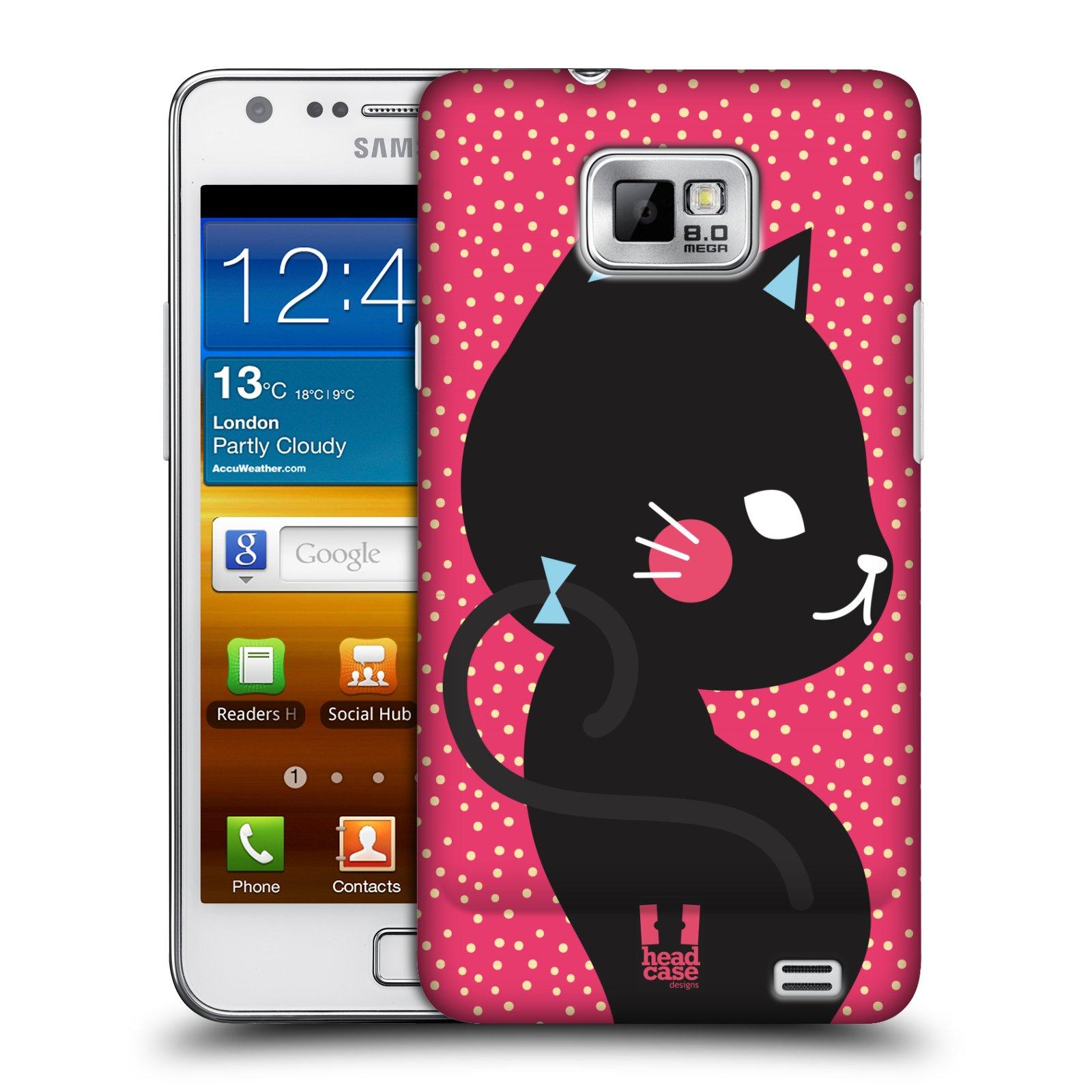 Plastové pouzdro na mobil Samsung Galaxy S II HEAD CASE KOČIČKA ČERNÁ NA RŮŽOVÉ (Kryt či obal na mobilní telefon Samsung Galaxy S II GT-i9100)