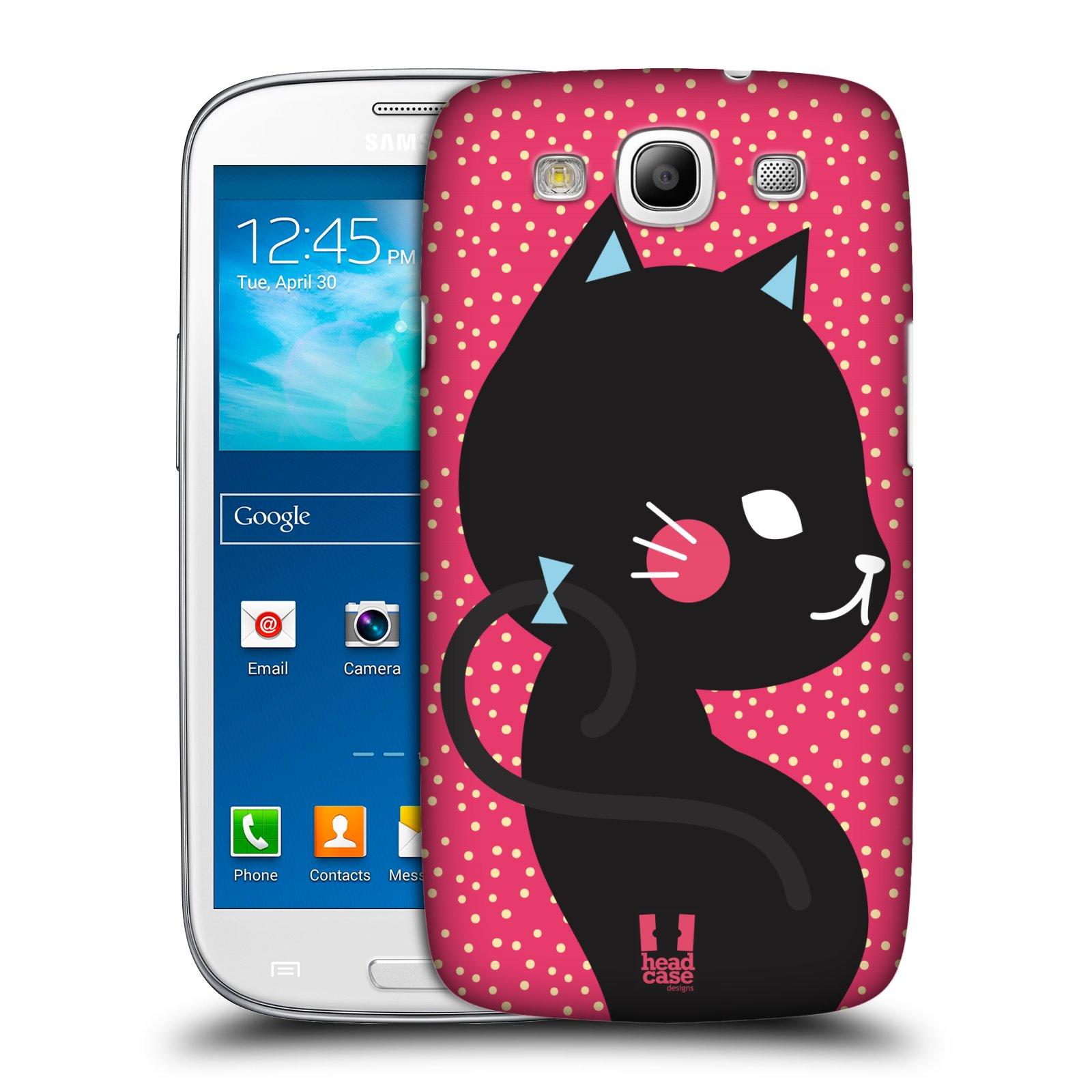 Plastové pouzdro na mobil Samsung Galaxy S3 Neo HEAD CASE KOČIČKA ČERNÁ NA RŮŽOVÉ (Kryt či obal na mobilní telefon Samsung Galaxy S3 Neo GT-i9301i)