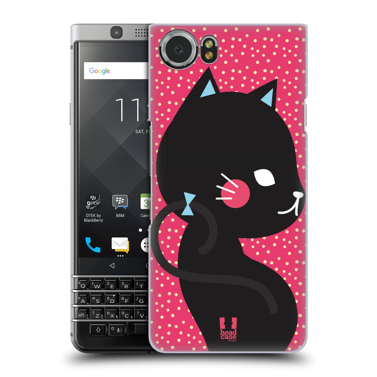 Plastové pouzdro na mobil BlackBerry KEYone - Head Case - KOČIČKA Černá NA RŮŽOVÉ