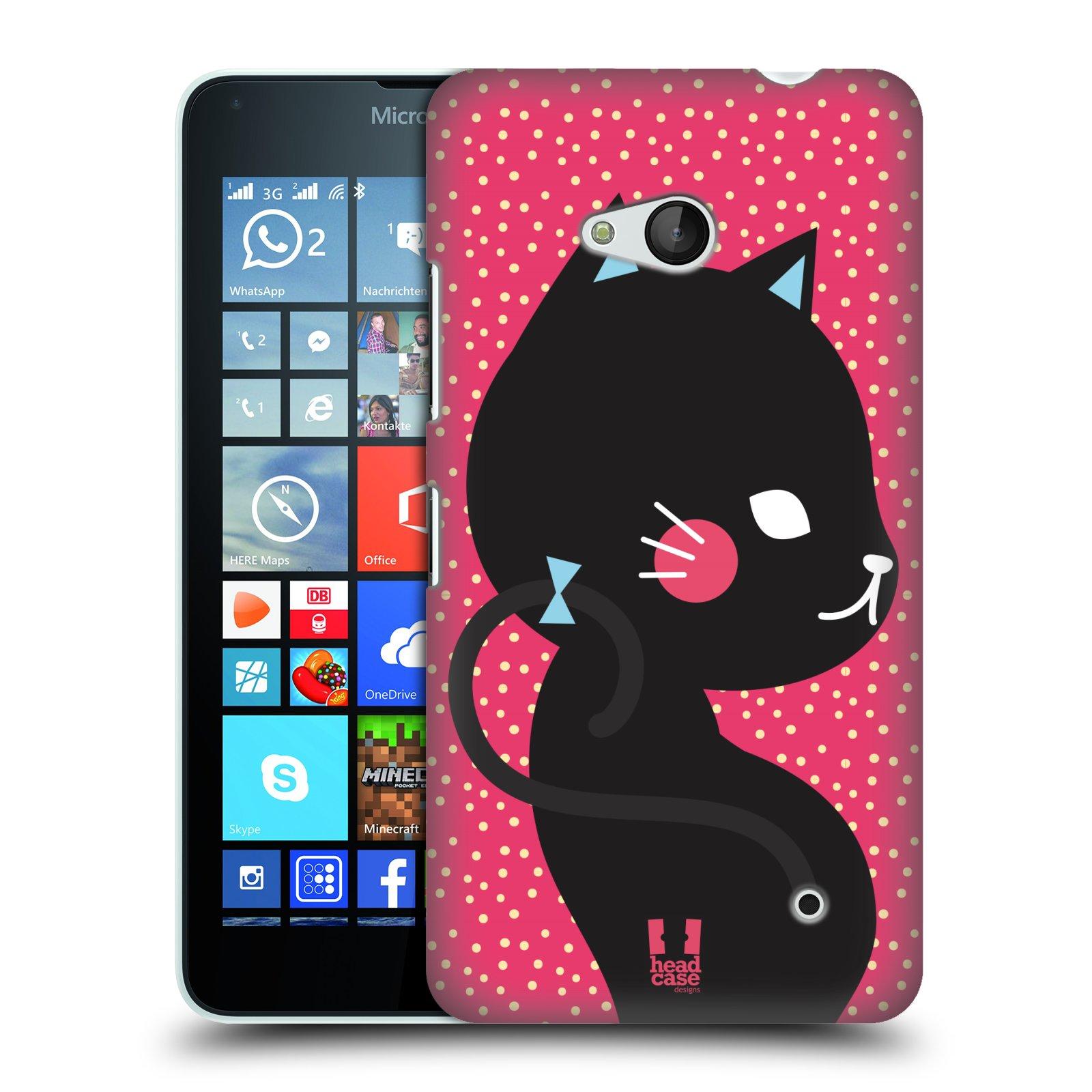 Plastové pouzdro na mobil Microsoft Lumia 640 HEAD CASE KOČIČKA ČERNÁ NA RŮŽOVÉ (Kryt či obal na mobilní telefon Microsoft Lumia 640)
