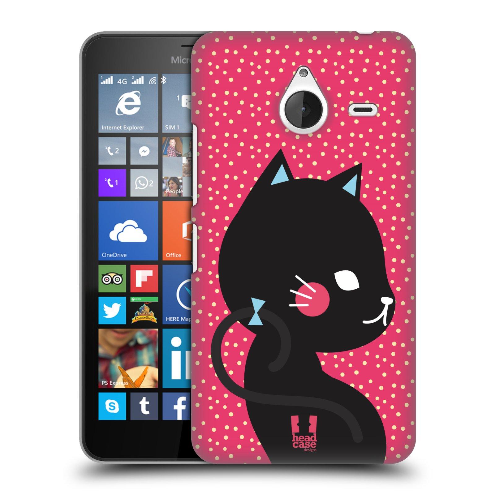 Plastové pouzdro na mobil Microsoft Lumia 640 XL HEAD CASE KOČIČKA ČERNÁ NA RŮŽOVÉ (Kryt či obal na mobilní telefon Microsoft Lumia 640 XL)