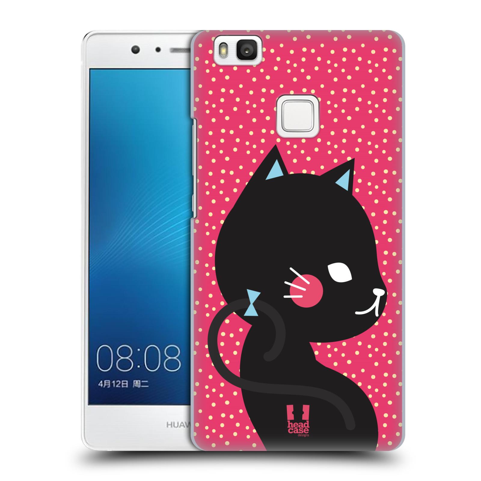 Plastové pouzdro na mobil Huawei P9 Lite HEAD CASE KOČIČKA Černá NA RŮŽOVÉ