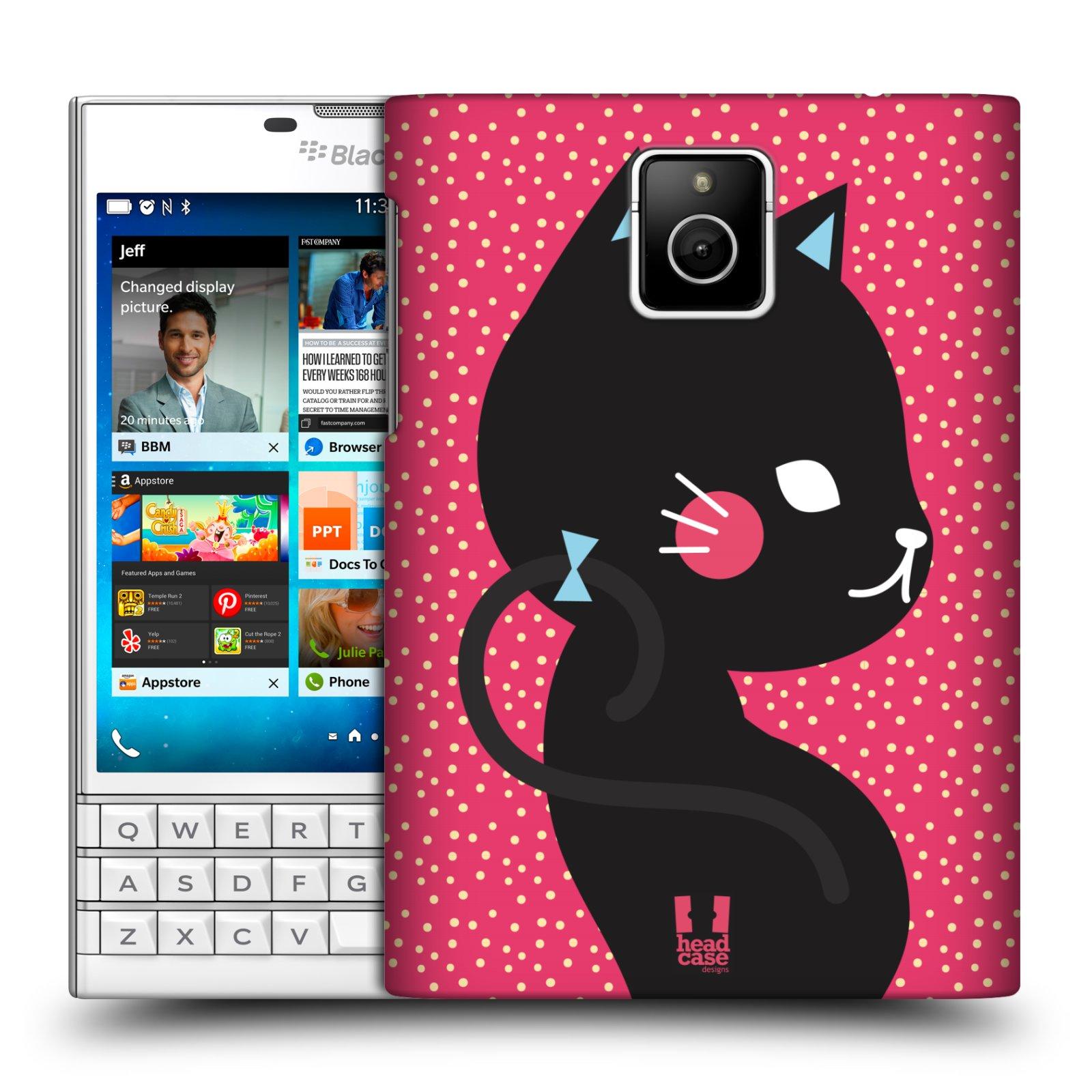 Plastové pouzdro na mobil Blackberry PASSPORT HEAD CASE KOČIČKA ČERNÁ NA RŮŽOVÉ (Kryt či obal na mobilní telefon Blackberry PASSPORT)