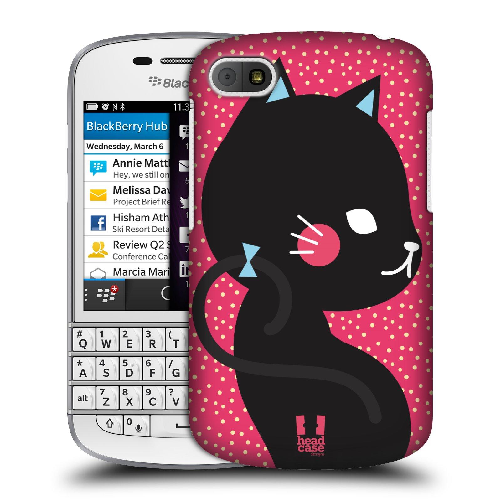 Plastové pouzdro na mobil Blackberry Q10 HEAD CASE KOČIČKA ČERNÁ NA RŮŽOVÉ (Kryt či obal na mobilní telefon Blackberry Q10)