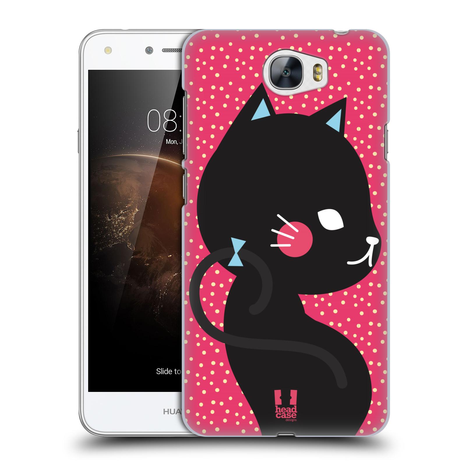 Plastové pouzdro na mobil Huawei Y5 II HEAD CASE KOČIČKA Černá NA RŮŽOVÉ