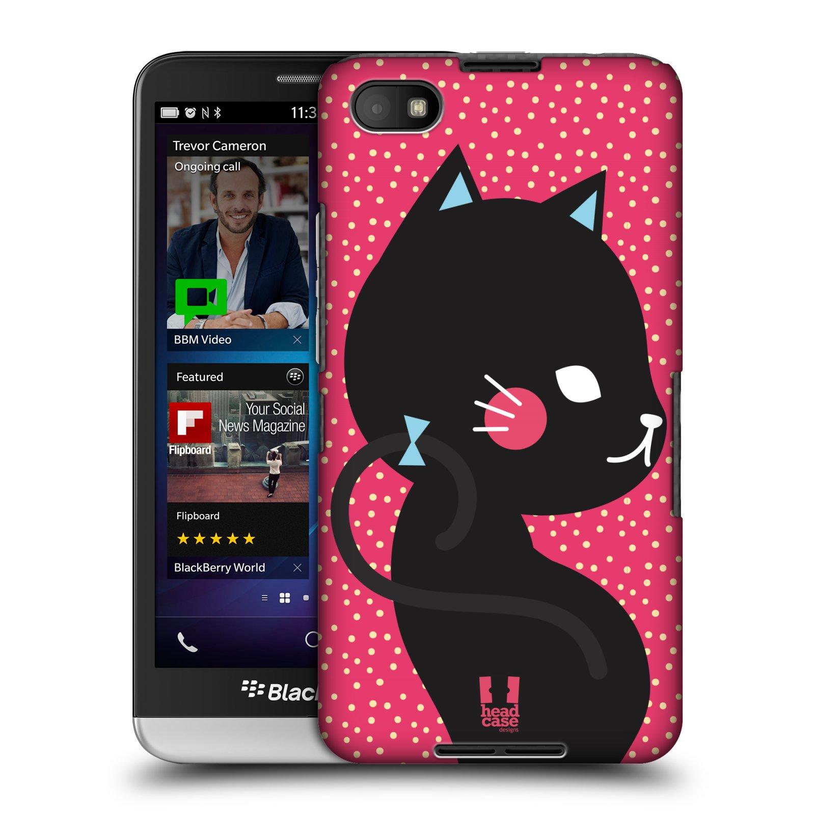 Plastové pouzdro na mobil Blackberry Z30 HEAD CASE KOČIČKA ČERNÁ NA RŮŽOVÉ (Kryt či obal na mobilní telefon Blackberry Z30)