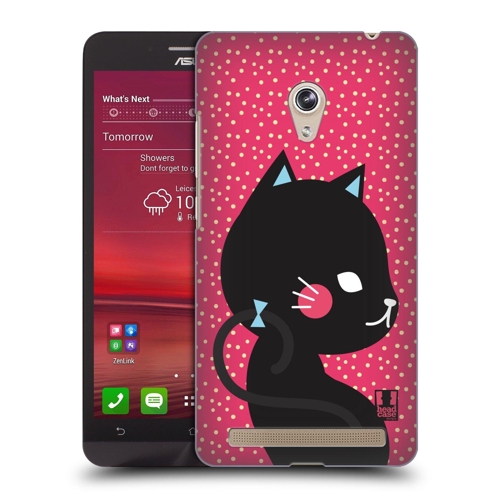 Plastové pouzdro na mobil Asus Zenfone 6 HEAD CASE KOČIČKA ČERNÁ NA RŮŽOVÉ (Kryt či obal na mobilní telefon Asus Zenfone 6 A600CG / A601CG)