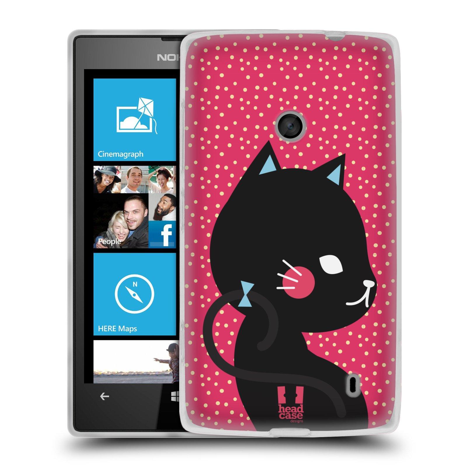 Silikonové pouzdro na mobil Nokia Lumia 520 HEAD CASE KOČIČKA ČERNÁ NA RŮŽOVÉ (Silikonový Kryt či obal na mobilní telefon Nokia Lumia 520)