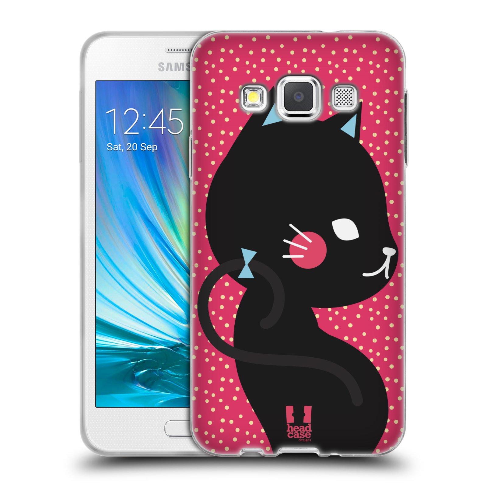Silikonové pouzdro na mobil Samsung Galaxy A3 HEAD CASE KOČIČKA ČERNÁ NA RŮŽOVÉ