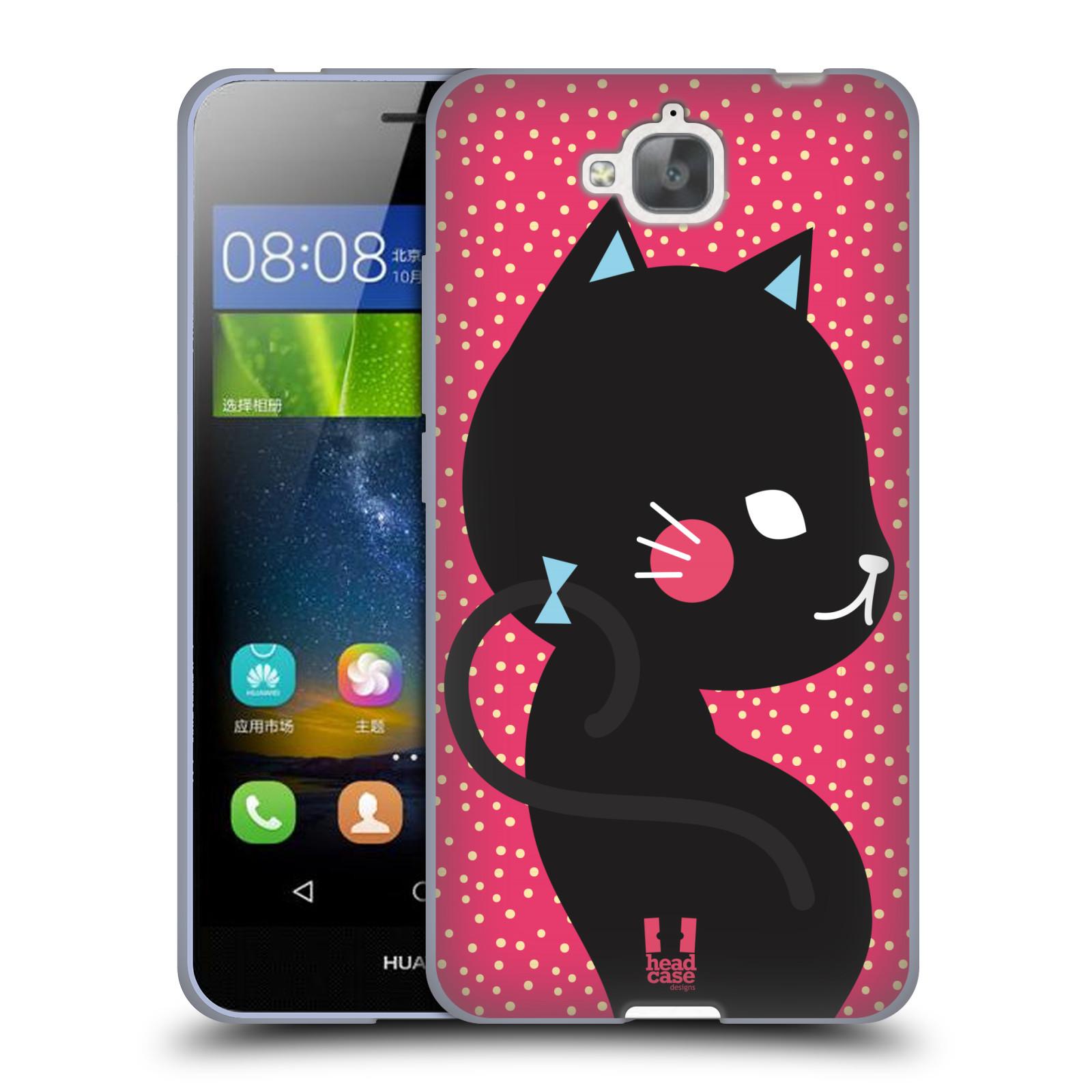 Silikonové pouzdro na mobil Huawei Y6 Pro Dual Sim HEAD CASE KOČIČKA Černá NA RŮŽOVÉ