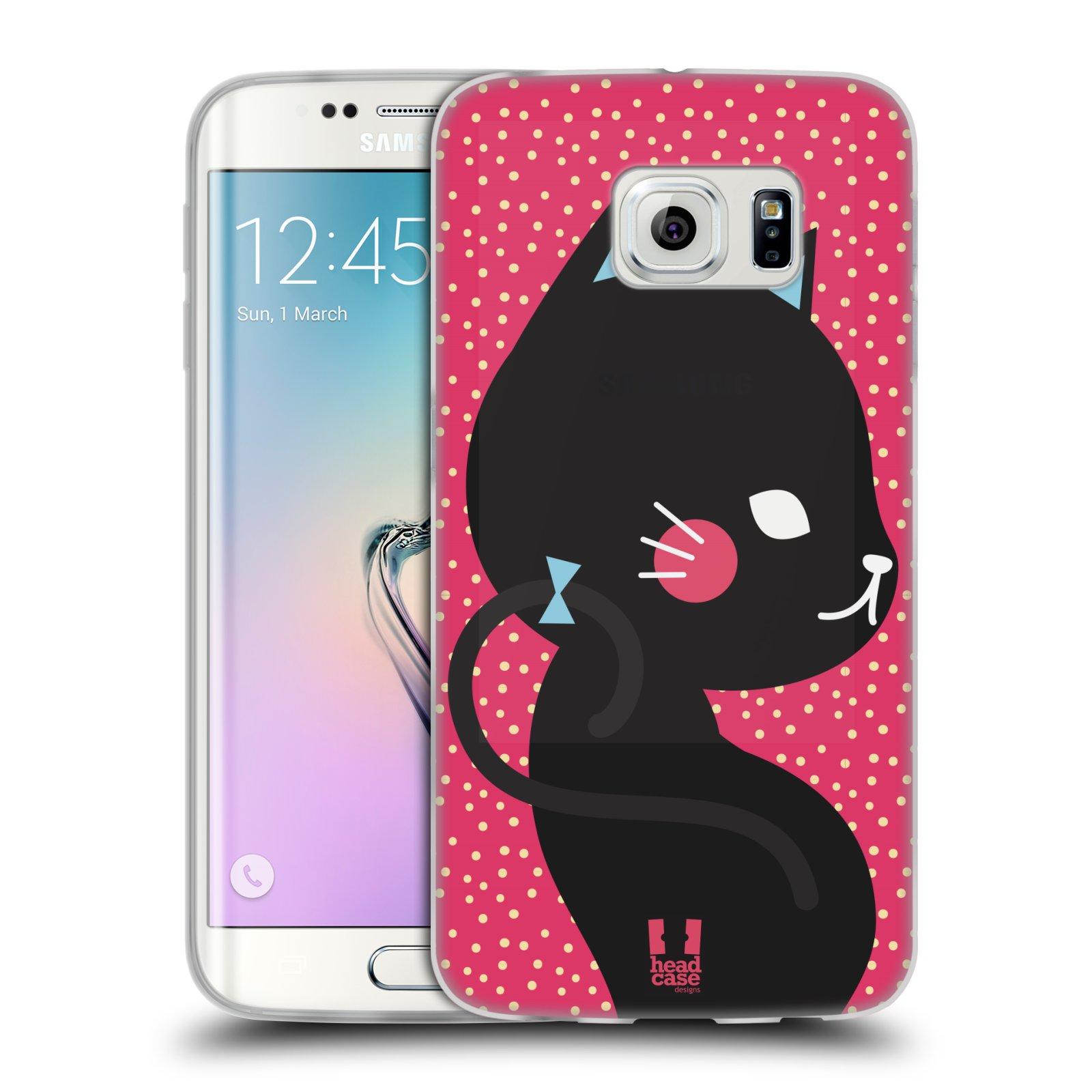 Silikonové pouzdro na mobil Samsung Galaxy S6 Edge HEAD CASE KOČIČKA ČERNÁ NA RŮŽOVÉ (Silikonový kryt či obal na mobilní telefon Samsung Galaxy S6 Edge SM-G925F)