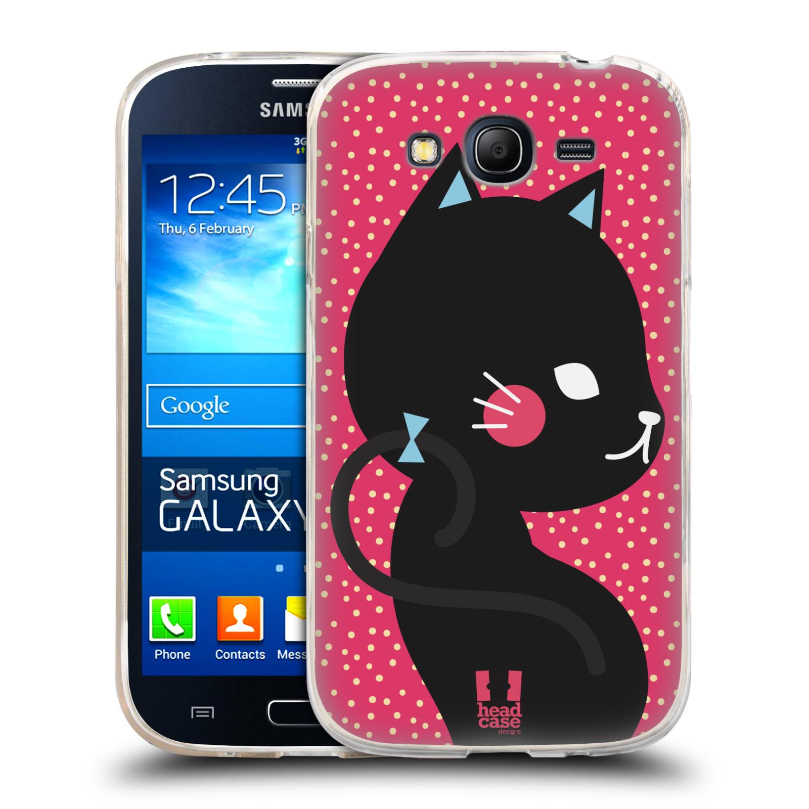 Silikonové pouzdro na mobil Samsung Galaxy Grand Neo HEAD CASE KOČIČKA ČERNÁ NA RŮŽOVÉ (Silikonový kryt či obal na mobilní telefon Samsung Galaxy Grand Neo GT-I9060)