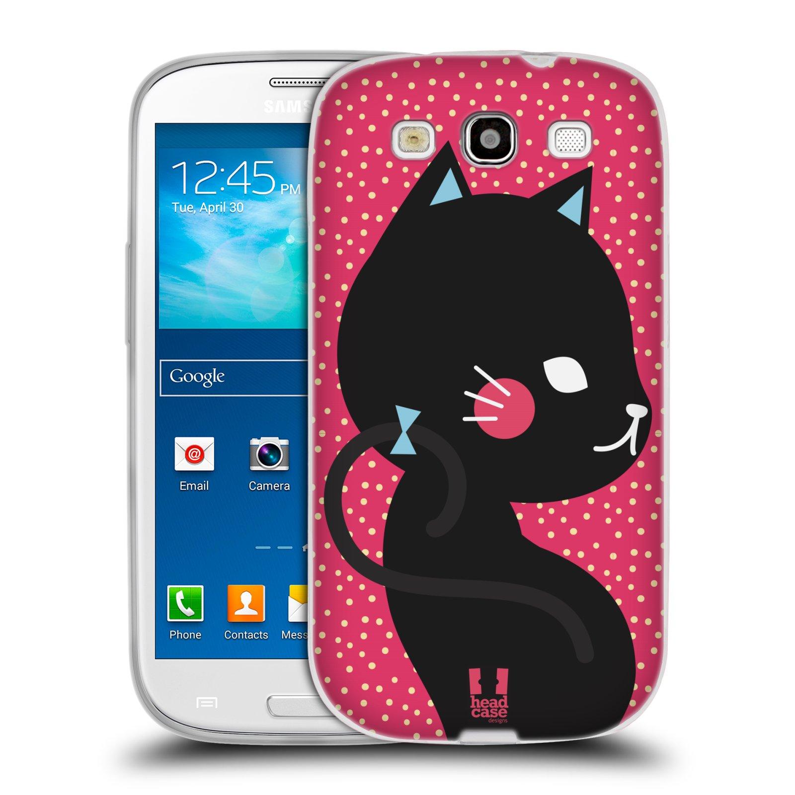 Silikonové pouzdro na mobil Samsung Galaxy S3 Neo HEAD CASE KOČIČKA ČERNÁ NA RŮŽOVÉ (Silikonový kryt či obal na mobilní telefon Samsung Galaxy S3 Neo GT-i9301i)
