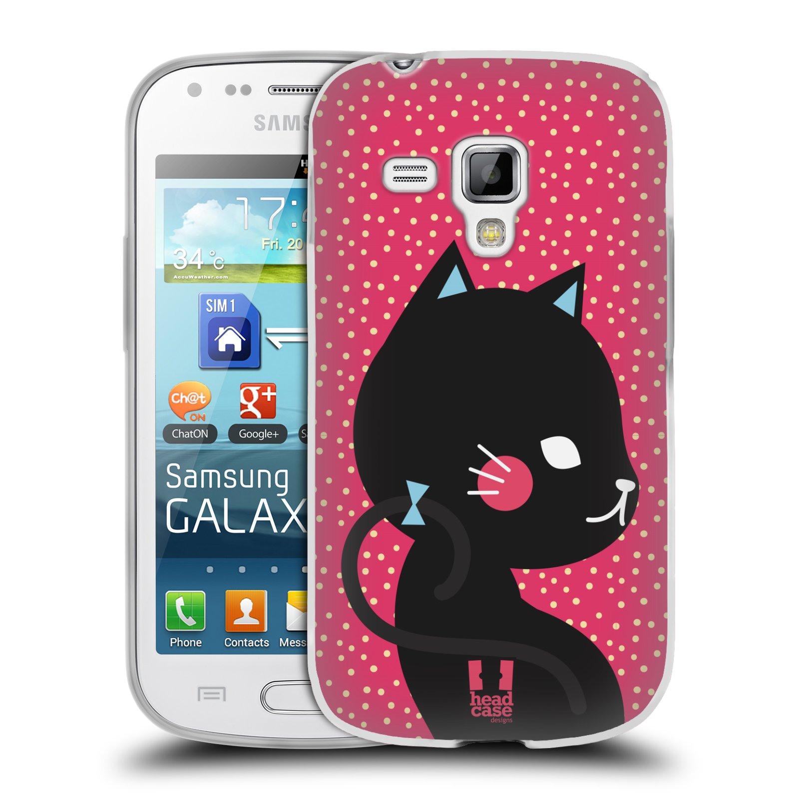Silikonové pouzdro na mobil Samsung Galaxy Trend Plus HEAD CASE KOČIČKA ČERNÁ NA RŮŽOVÉ (Silikonový kryt či obal na mobilní telefon Samsung Galaxy Trend Plus GT-S7580)