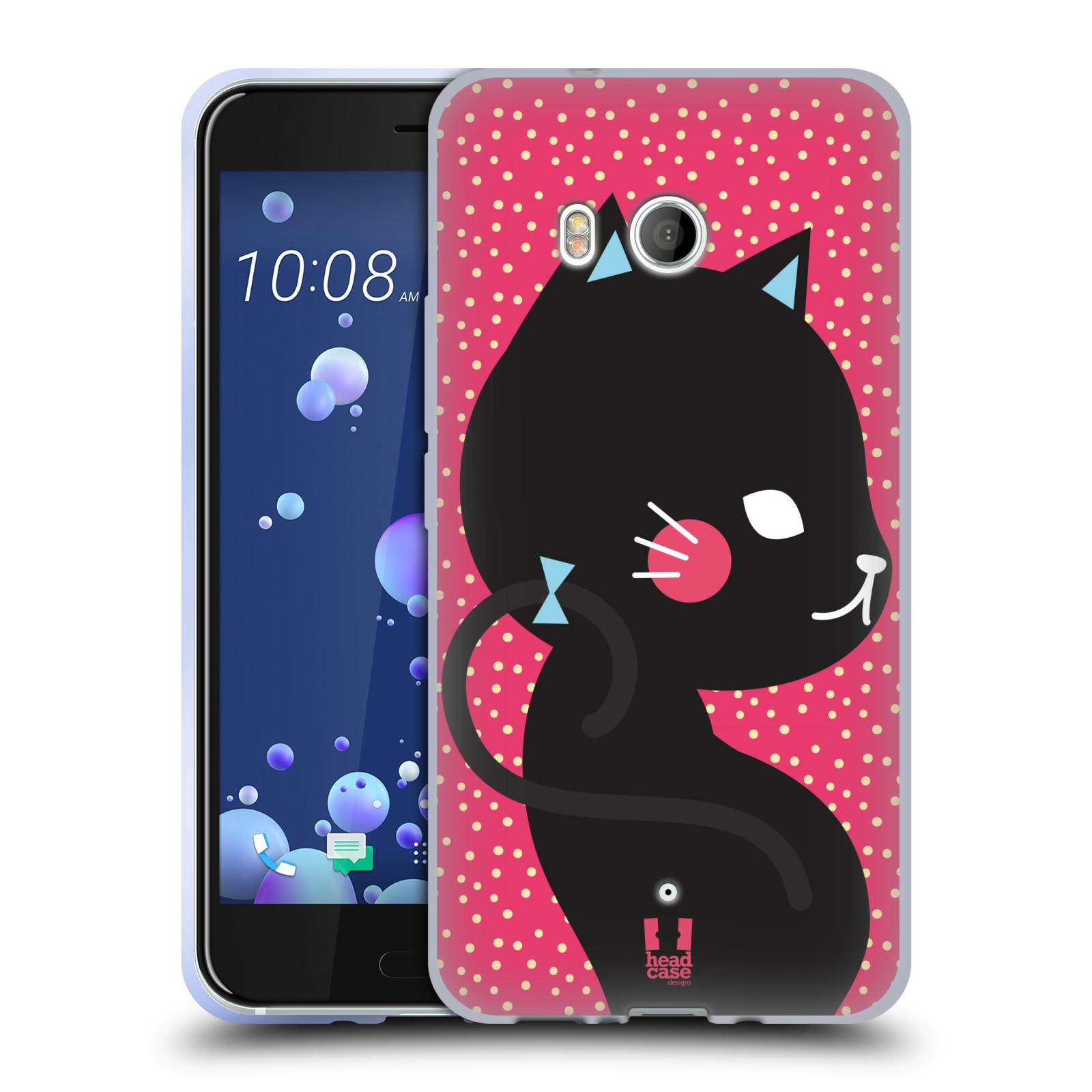 Silikonové pouzdro na mobil HTC U11 - Head Case - KOČIČKA Černá NA RŮŽOVÉ
