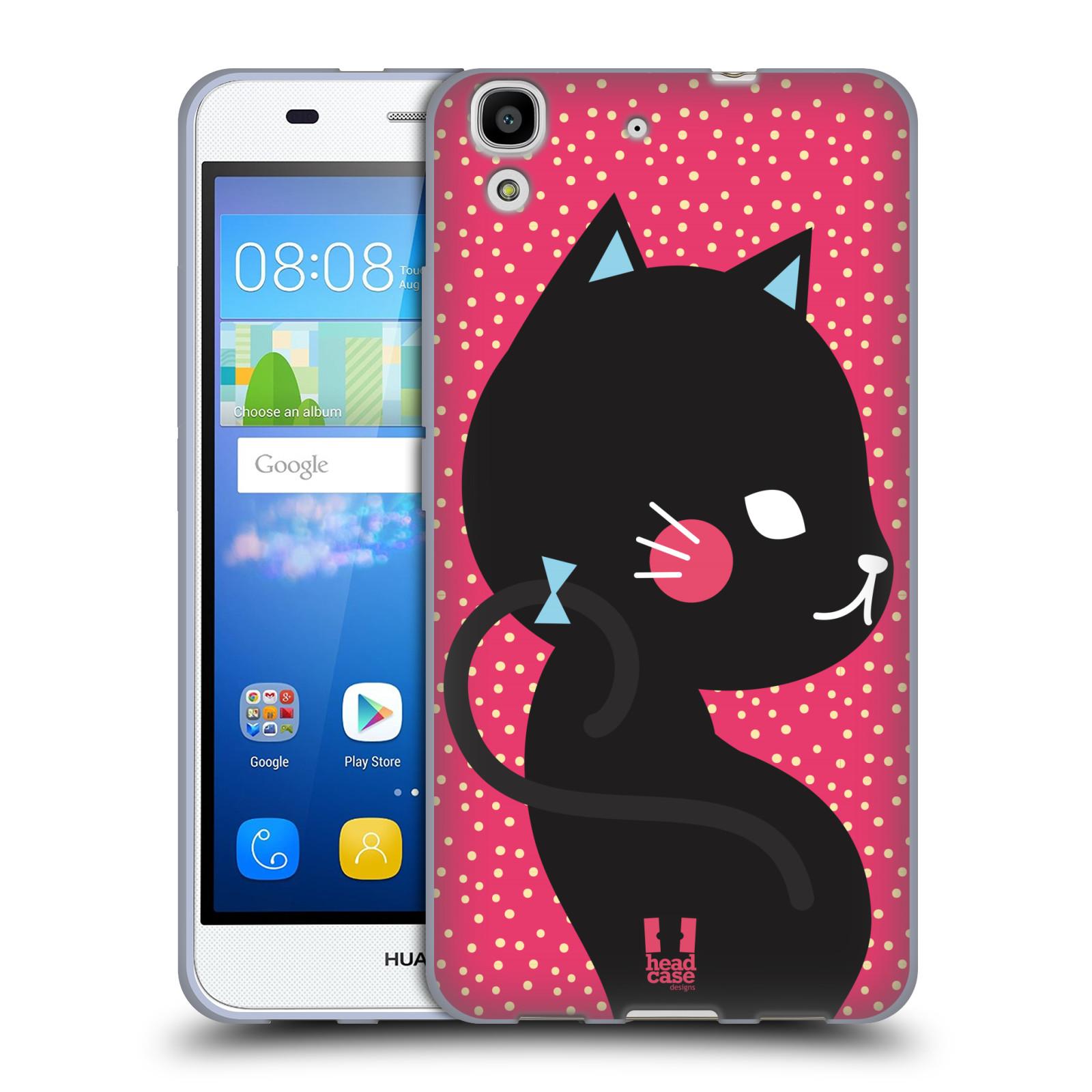 Silikonové pouzdro na mobil Huawei Y6 HEAD CASE KOČIČKA ČERNÁ NA RŮŽOVÉ