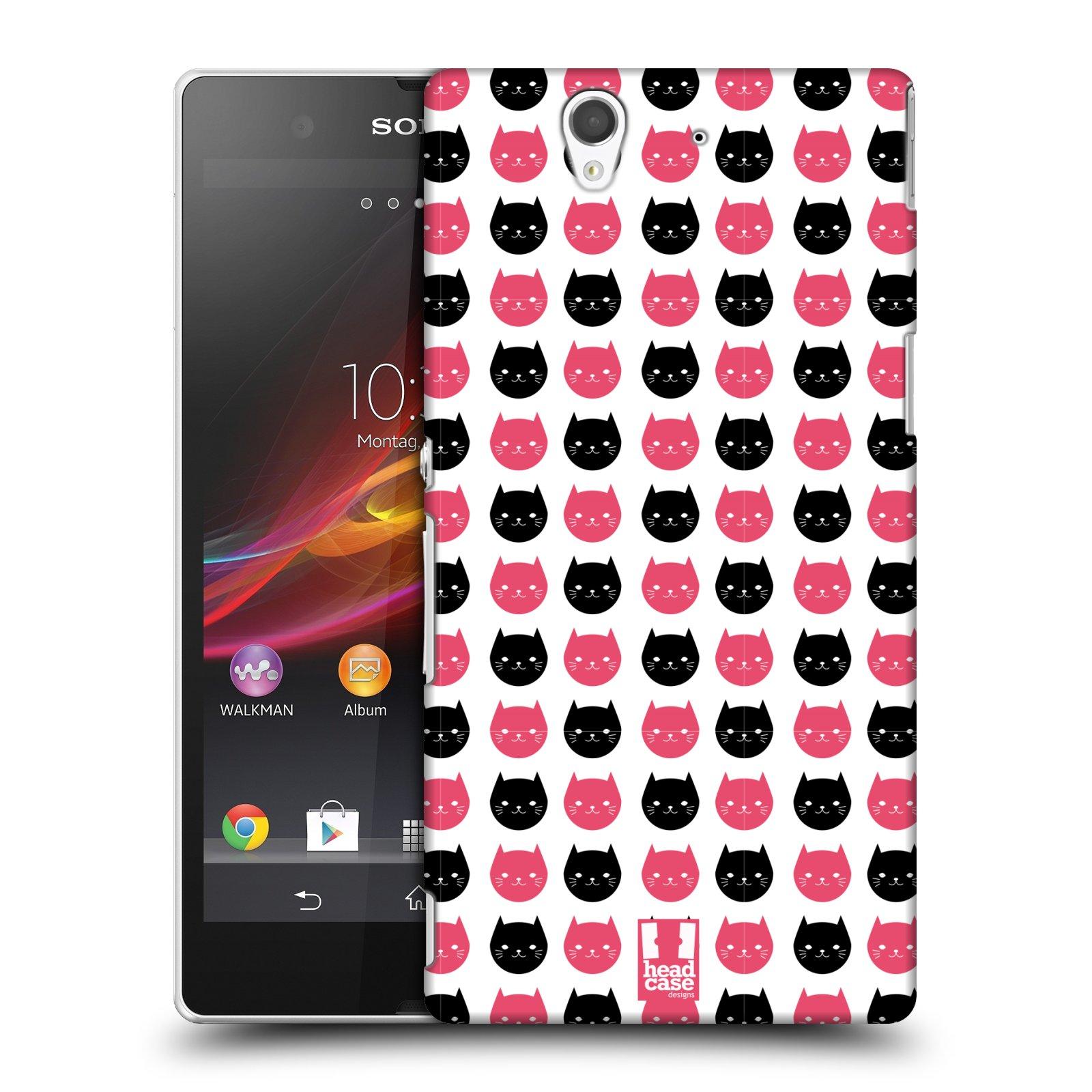 Plastové pouzdro na mobil Sony Xperia Z C6603 HEAD CASE KOČKY Black and Pink (Kryt či obal na mobilní telefon Sony Xperia Z )
