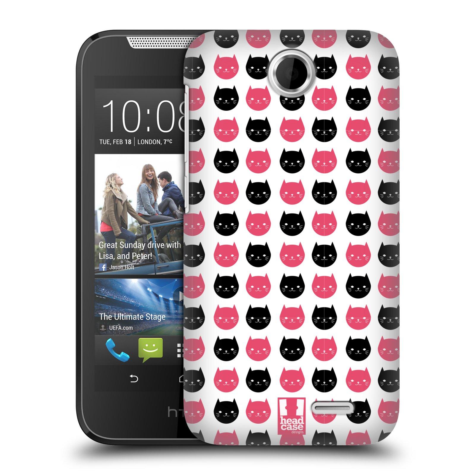 Plastové pouzdro na mobil HTC Desire 310 HEAD CASE KOČKY Black and Pink (Kryt či obal na mobilní telefon HTC Desire 310)