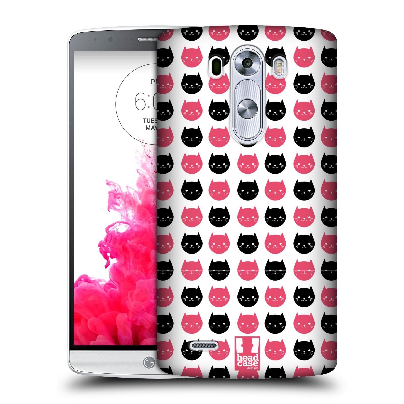 Plastové pouzdro na mobil LG G3 HEAD CASE KOČKY Black and Pink (Kryt či obal na mobilní telefon LG G3 D855)