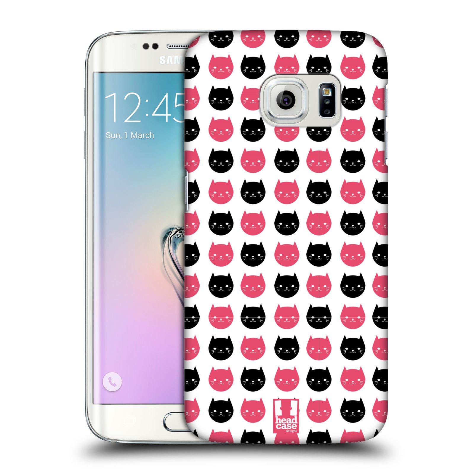 Plastové pouzdro na mobil Samsung Galaxy S6 Edge HEAD CASE KOČKY Black and Pink (Kryt či obal na mobilní telefon Samsung Galaxy S6 Edge SM-G925F)